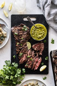 A juicy grilled skirt steak marinated in citrus juices soy sauce Worcestershire garlic and spices. Paired with a tangy and bright cilantro pesto! In partnership with Char-Griller Steak Fajitas, Steak Braten, Sirloin Steaks, How To Grill Steak, Steak Marinades, Flank Steak, Grilling Recipes, Beef Recipes, Cooking Recipes