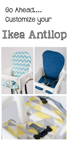 Handmade and stylish replacement high chair covers for your Ikea Antilop. www.sewplicity.com