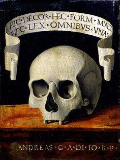 Memento Mori (verso) by Andrea Previtali - Canvas Art Print Memento Mori, Canvas Art Prints, Fine Art Prints, Crane, Vanitas Vanitatum, Dance Of Death, Danse Macabre, Italian Painters, Skull And Bones