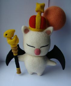 King Moggle Mog is a boss in Final Fantasy XIV a Realm Reborn. It was made by me, needle felting, completely out of wool and hypoallergenic