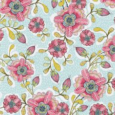 Felice fiori floreale in blu - 112.103.03.1 - Ciao mondo - Cori Dantini per tessuti Blend - 1/2 Yard
