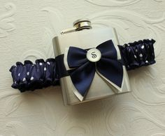 "Personalized FLASK GARTER - Navy with Ivory Polka Dots. $40.00, via Etsy.  For those ""dry"" weddings."