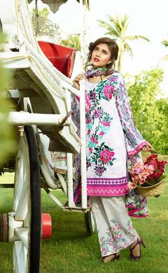 Shirt: Fabric: Embroidered Front with Sleeves, Printed Back Shalwar/Trousers: Fabric: Printed Trouser. Dupatta: Fabric: Printed Silk Dupatta.