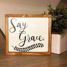 Say Grace sign| Farmhouse Decor| Farmhouse Sign| Small Wood Sign| Say Grace Wood Sign| Rustic Kitchen Decor| Rustic Kitchen Sign| Wood Sign by SweetGypsyDecor on Etsy