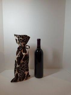 Wine Bag:Fully Lined and Decorated with Large Graceful Giraffes by PapillonandDaisies on Etsy