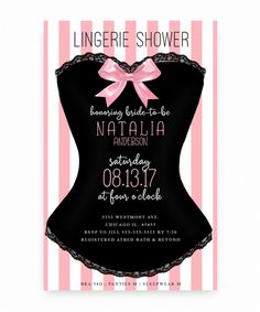 corset lingerie shower, corset, pink and white bridal shower invitation,