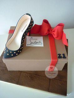 Louboutin birthday cake amazing cake… Doesn't come with real shoes! Shoe Box Cake, Shoe Cakes, Purse Cakes, 21st Cake, 21st Birthday Cakes, Cupcakes, Cupcake Cakes, Fashionista Cake, Camo Wedding Cakes