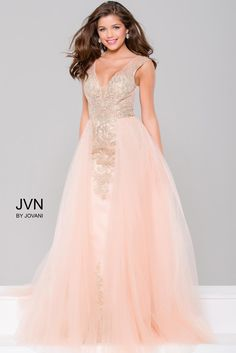 Blush and Nude Embellished Column Prom Dress