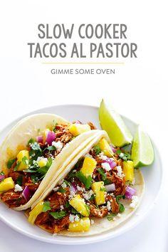 Slow Cooker Tacos Al Pastor Recipe | gimmesomeoven.com