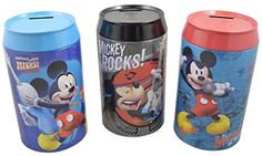 """Disney Mickey Mouse """"Rocks"""" Large Tin Coin Piggy bank Set of 3 -- This is an Amazon Affiliate link. Be sure to check out this awesome product."""
