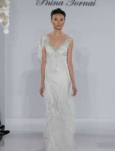 Pnina Tornai - V-Neck Sheath Gown in Chantilly Lace