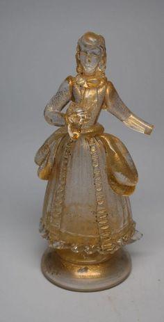 RARE MURANO VENETIAN ART GLASS WOMAN FIGURINE – W/GOLD FLECKS, LABEL
