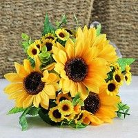 Type: Fake Sunflower Material: Plastic, Silk Cloth Flower Color: Yellow Quantity: 7 Heads/Bouquet