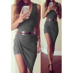 Sexy V-Neck Sleeveless Asymmetrical Solid Color Women's Dress