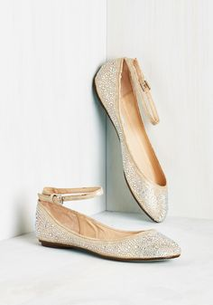 Dazzling Demeanor Flat by Betsey Johnson - Gold, Rhinestones, Wedding, Bridesmaid, Bride, Flat, Faux Leather