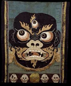 Mahakala, Tibetan Buddhist Bodhisattva of Wrathful Compassion & Dharma Protector, embroidered silk applique'.