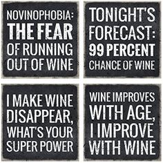 Four coaster set with fun wine quotes and sayings, sure to put a smile on your face every time you take a sip. Great accessories for your wine bar, or any entertaining space. Order now @www.vino-please.com #vinoplease#winecoasters #wineaccessories#winehumor