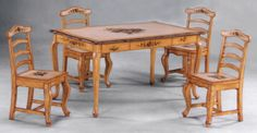 painted pedestal dining table and chairs | hand painted dining room table with cabriole legs on dining table ...