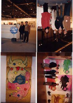 Fasanella con su obra en la clausura del Taller de Arte Actual de Carlos Franco, con más de 30 artistas donde fue 1er ayudante, para la decoración del Baile de Nochevieja en el Circulo de Bellas Artes de Madrid y en Arco Madrid con Alecs Navio coautor con Fasanella de la escultura Efecto Mariposa - 1995