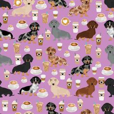 1 yard (or 1 fat quarter) of dachshund coffee fabric, coffees and lattes fabric - purple by designer petfriendly. Printed on Organic Cotton Knit, Linen Cotton Canvas, Organic Cotton Sateen, Kona Cotton, Basic Cotton Ultra, Cotton Poplin, Minky, Fleece, or Satin fabric. Available in yards and quarter yards (fat quarter). This fabric is digitally printed on demand as orders are placed. Unlike conventional textile manufacturing, very little waste of fabric, ink, water or electricity is used…