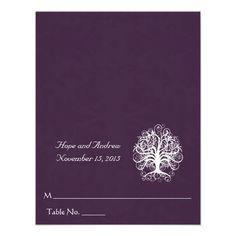 White Swirl Tree on Eggplant Wedding Place Card Personalized Invites