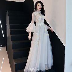 Illusion Ivory See-through Evening Dresses 2019 A-Line / Princess High Neck Bell. - - Illusion Ivory See-through Evening Dresses 2019 A-Line / Princess High Neck Bell sleeves Spotted Tulle Appliques Lace Floor-Length / Long Ruffle Forma. Fall Dresses, Elegant Dresses, Pretty Dresses, Vintage Dresses, Beautiful Dresses, Evening Dresses, Prom Dresses, Formal Dresses, Wedding Dresses