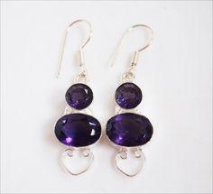 Purple Quartz Earrings - the color of February Birthstone!  #15-53 by WhereDidYouBuyIt on Etsy