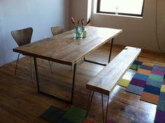 Table et banc en bois récupérés. Je les veux!