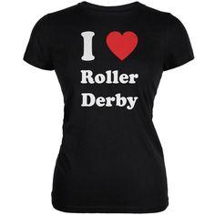 I Heart Roller Derby Black Juniors Soft T-Shirt