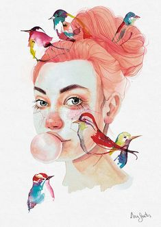 Ana Santos: illustration with watercolor, constellations, animals and faces Watercolor Art Face, Watercolor Portraits, Watercolor Paintings, Portrait Illustration, Watercolor Illustration, Gcse Art Sketchbook, Guache, Portrait Art, Medium Art