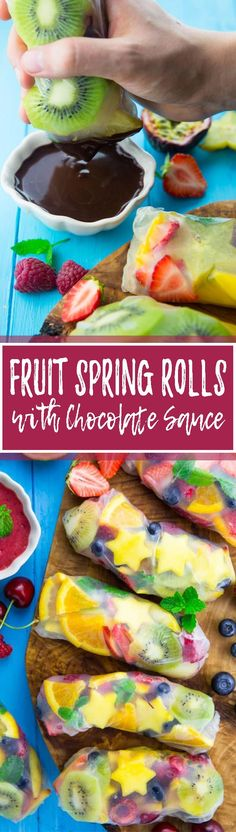 These fruit spring rolls with strawberries, kiwi, blueberries, and mango are the perfect dessert for hot summer days. So delicious, healthy, and easy! <3 | veganheaven.org
