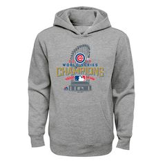 NWT Licensed Men/'s Cubs 2016 World Series Champions Locker Room Hoodie Gry