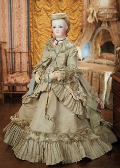 In the Company of the Gentleman Bespoken: 54 Splendid French Bisque Smiling Poupee by Leon Casimir Bru with Wooden Body and Original Gown