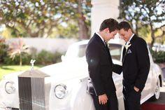 perfect vintage rolls for a wedding car. gay wedding.