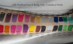 Face paint swatches for cameleon