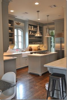 LIKE THE ISLAND - FREE STANDING & THE COLORS -gray walls / white cabinets, doorless uppers, farm sink, lighting
