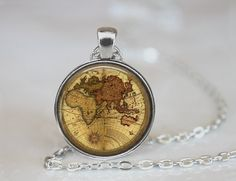 Vintage World Map Necklace   Silver 1 Circle by 42PurpleElephants