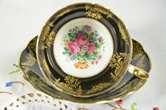 Foley bone china made in England tea cup and saucer/ black tea cup by VieuxCharmes on Etsy