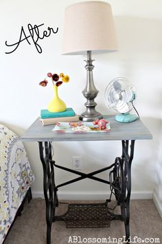 A new top (painted in a breezy hue) transforms the base of this sewing table into a stylish bedside table.  See more at A Blossoming Life »   - CountryLiving.com