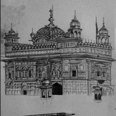 the artist's canvas Wow, very lovely and detailed art piece of Sri Harmandir Sahib Ji by 🙏🏽😀 Beautiful work and keep dreaming! Doodle Art Drawing, Art Drawings, Gcse Art Sketchbook, Sketchbooks, Sketching, Golden Temple Wallpaper, Temple Drawing, Front Page Design, Golden Temple Amritsar