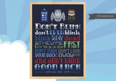 """Doctor Who - Don't Blink Quote This cross stitch patterns features the quote from Doctor Who """"Blink"""". Don't even blink. Blink and you're dead. They are fast. Faster than you can believe. Don't turn your back, don't look Beaded Cross Stitch, Cross Stitch Embroidery, Cross Stitch Patterns, Bead Patterns, Dr Who, Doctor Who Blink, Doctor Who Craft, Doctor Who Merchandise, Doctor Who Quotes"""