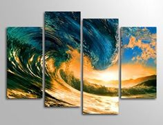 Here you will find some of the best home  wall art décor around.  You will find #travel  #wall# art, #landscape wall art, #fantasy home wall art décor, animal wall art  home #décor, love wall art and so much more.   All beautiful, trendy and charming accents for your home.      Yearainn Wall Art Canvas Prints Sunset Sea Wave Painting Print on Canvas - Summer Vacation Sea Canvas Art - Seascape Ocean Art Painting Pictures Artwork for Living Room Bedroom Interior Decoration