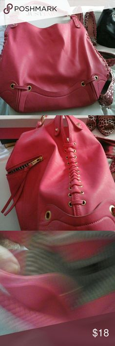 Pretty rose pink bag gently used Purses a little worn on the bottom probably will just scrub off JustFab Bags Totes