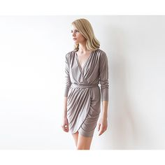 Mini Wrap Dress , Wrap Mini Taupe Dress With Long Sleeves , Taupe Mini Dress , Bridesmaids Short Grey Dress - Blushfashion. Here is the way to show off those stems. This wedding bridesmaid dress is perfect for a summer or fall wedding event. Beautiful Blushfashion dress by an Israeli designer.  Custom Orders for Bridesmaids or large groups available. Simply inquire at www.styleandpose.com