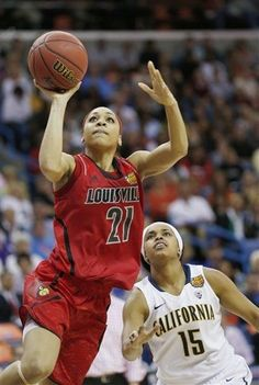 Louisville guard Bria Smith (21) shoots against California guard Brittany Boyd (15) in the second half of a national semifinal at the Womens Final Four of the NCAA college basketball tournament, Sunday, April 7, 2013