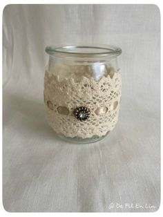Exceptional mason jar detail are readily available on our web pages. Have a look and you wont be sorry you did. Crafts With Glass Jars, Mason Jar Crafts, Mason Jars, Diy Bottle, Bottle Crafts, Empty Candle Jars, Doily Art, Altered Bottles, Decorated Jars