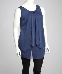 Take a look at this Navy Sheer Scoop Neck Tunic - Plus by Wole' Designs on #zulily today! $22 !!