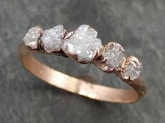 Custom Diamond Rose gold Engagement Ring Rough Gold Wedding