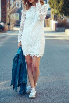 Lace dress casual sneaker