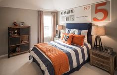 A sports-themed kids room with an antique vibe. A sports-themed kids room with an antique vibe. A sports-themed kids room with an antique vibe Boy Sports Bedroom, Big Boy Bedrooms, Boys Bedroom Decor, Boys Basketball Bedroom, Sports Themed Bedrooms, Kids Sports Bedroom, Football Themed Rooms, Teen Bedroom Boys, Boys Bedroom Ideas Tween